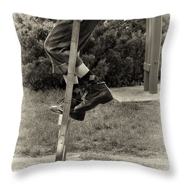 First Time On Stilts At White Pine Village In Ludington Michigan Throw Pillow