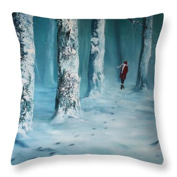First Trodden Snows Throw Pillow