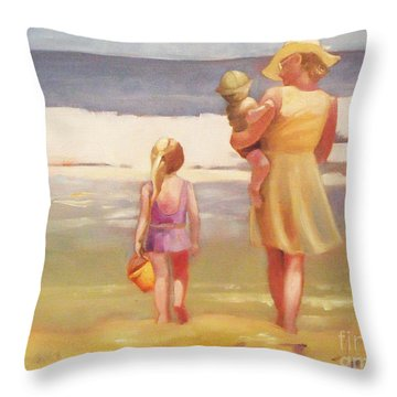 First Waves Beach Waves With Children And Mom  Throw Pillow by Mary Hubley