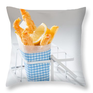 Fish And Chips Throw Pillow by Amanda Elwell