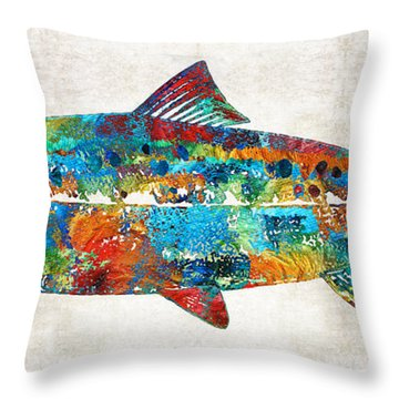 Fish Art Print - Colorful Salmon - By Sharon Cummings Throw Pillow