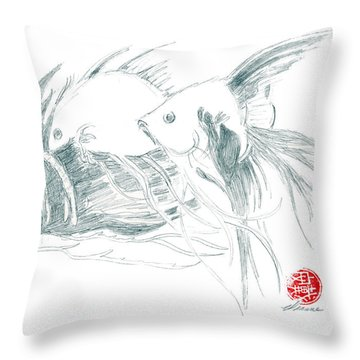 Throw Pillow featuring the drawing Fish by Dianne Levy
