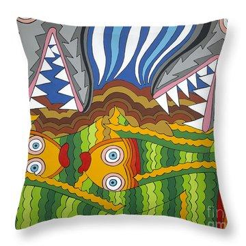 Fish Dinner Throw Pillow by Rojax Art