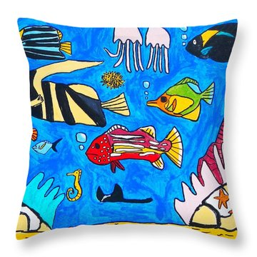 Throw Pillow featuring the painting Fish Family by Artists With Autism Inc