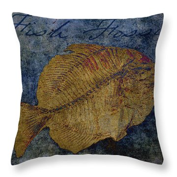 Fish Fossil Throw Pillow