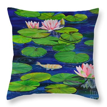 Throw Pillow featuring the painting Tranquil Pond by Mary Scott