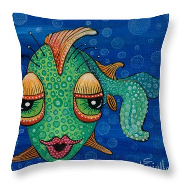 Fish Lips Throw Pillow by Tanielle Childers