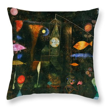 Throw Pillow featuring the painting Fish Magic by Paul Klee