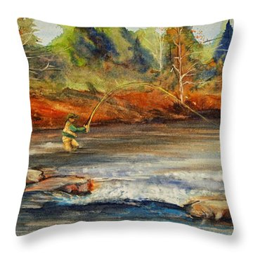 Throw Pillow featuring the painting Fish On 2 by Jani Freimann