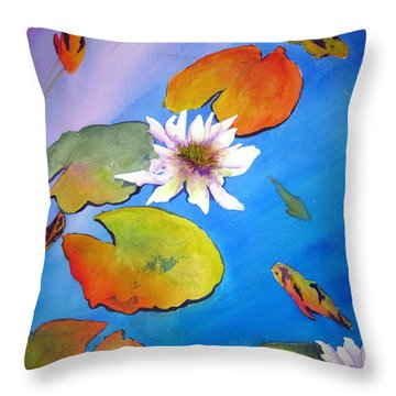 Throw Pillow featuring the painting Fish Pond I by Lil Taylor