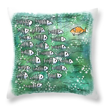 Fish School Reunion Throw Pillow by Mark Armstrong