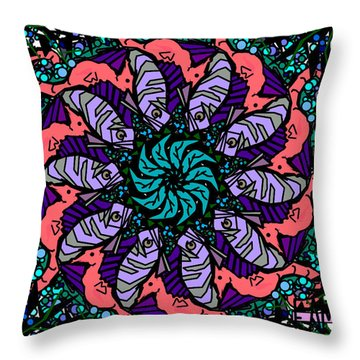 Throw Pillow featuring the digital art Fish / Seahorse by Elizabeth McTaggart