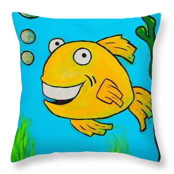 Fish Throw Pillow by Sheep McTavish