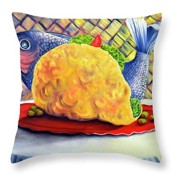 Fish Taco Throw Pillow by Randy Burns
