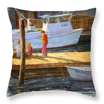 Throw Pillow featuring the painting Fish Tales At Cortez by Roger Rockefeller
