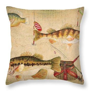 Fish Trio-a-basket Weave Border Throw Pillow