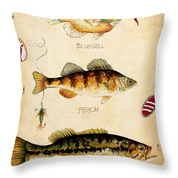 Fish Trio-c Throw Pillow by Jean Plout