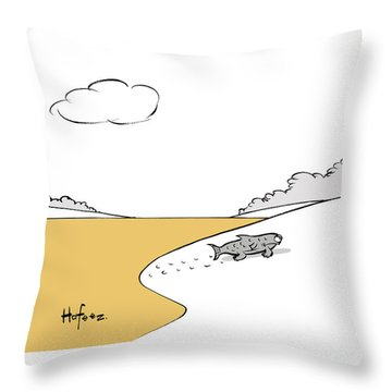 Fish Walking Out Of Toxic Water Throw Pillow
