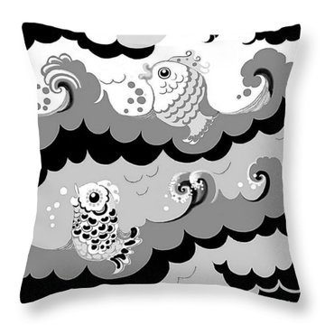 Throw Pillow featuring the digital art Fish Waves by Carol Jacobs
