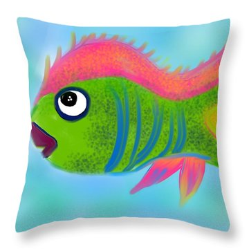 Throw Pillow featuring the digital art Fish Wish by Christine Fournier