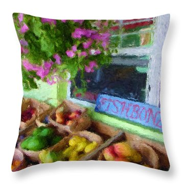 Da111 Fishbonz By Daniel Adams Throw Pillow