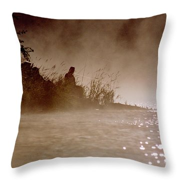 Fisher In The Mist Throw Pillow