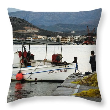 Fisherman And Son Throw Pillow