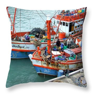 Fisherman Throw Pillow by Andrea Anderegg