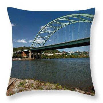 Fisherman At Birmingham Bridge Pittsburgh Pennsylvania Throw Pillow by Amy Cicconi