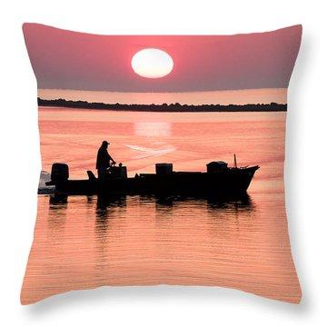 Fisherman At Sunrise Apalachicola Bay Florida  Throw Pillow by Bill Swindaman