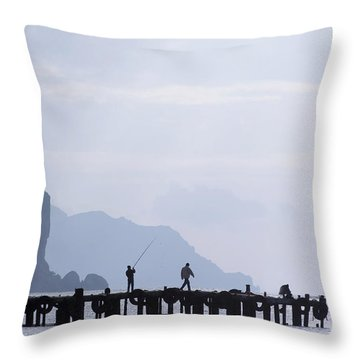Fisherman At The Pier Throw Pillow
