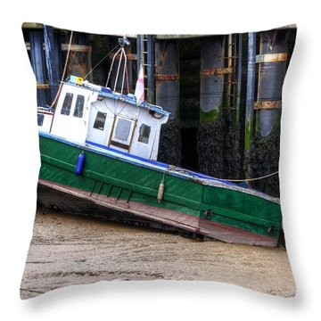 Fisherman Boat Throw Pillow by Svetlana Sewell