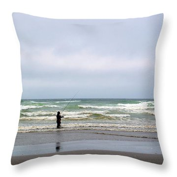 Fisherman Bracing The Weather Throw Pillow by Tikvah's Hope
