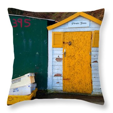 Fisherman Hut At The Harbour, Tramore Throw Pillow