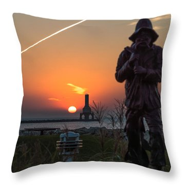Fisherman Sunrise Throw Pillow