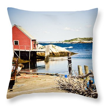 Fisherman's Cove Throw Pillow by Sara Frank