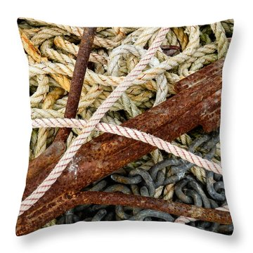Throw Pillow featuring the photograph Fisherman's Gear by Nancy De Flon