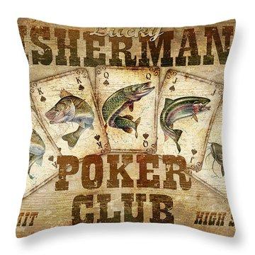 Fishermans Poker Club Throw Pillow by JQ Licensing