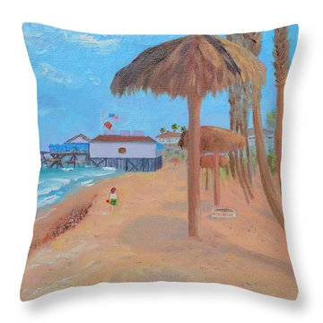 Throw Pillow featuring the painting Fisherman's Resturant by Mary Scott