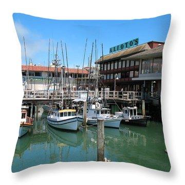 Fishermans Wharf Throw Pillow by Connie Fox