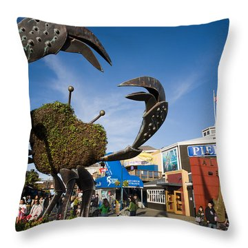 Fishermans Wharf Crab Throw Pillow