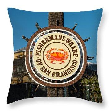 Fisherman's Wharf Sign Throw Pillow