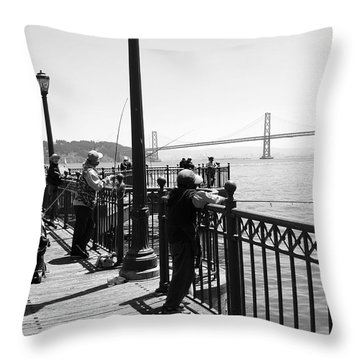 Throw Pillow featuring the photograph San Francisco - Fishing At The Pier by Haleh Mahbod