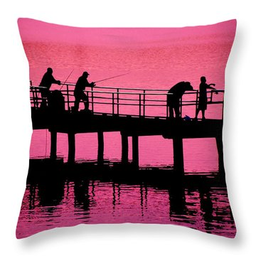 Throw Pillow featuring the photograph Fishermen by Raymond Salani III