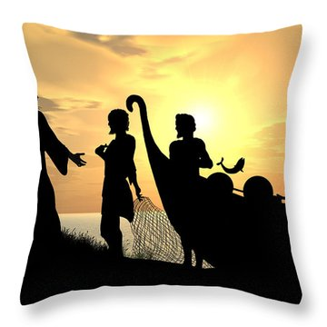 Fishers Of Men Throw Pillow by Kim Freitas