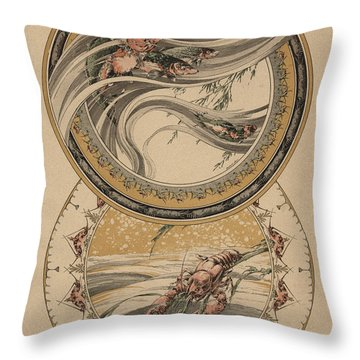 Fishes And Lobster Throw Pillow