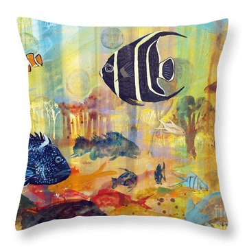 Fishes Throw Pillow by Robin Maria Pedrero