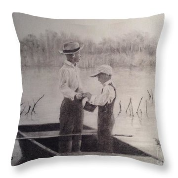 Throw Pillow featuring the drawing Fishin' Buddies by Mary Lynne Powers