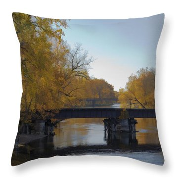 Fishin By The Old  Tracks Throw Pillow by John Crothers