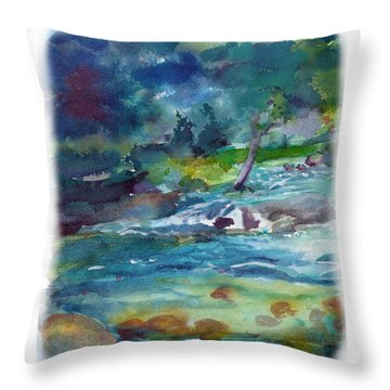 Throw Pillow featuring the painting Fishin' Hole 2 by C Sitton